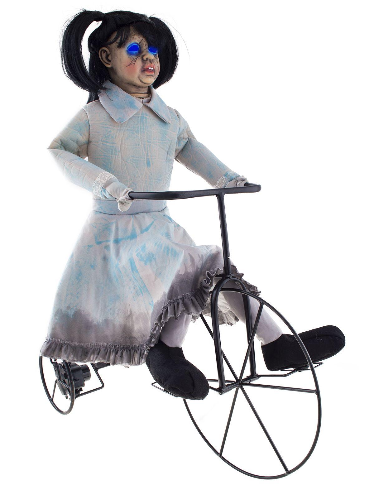 Gruselmädchen auf Fahrrad mit Licht, Sound und Bewegung