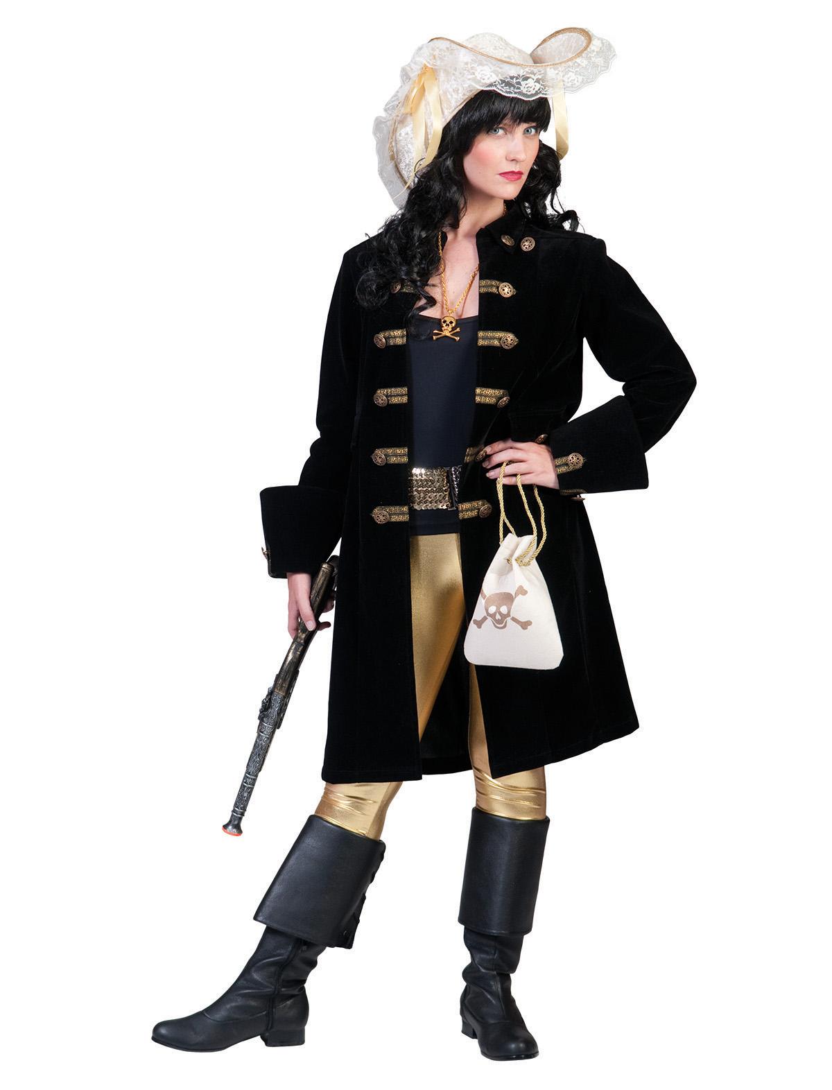 Jacke Piratin schwarz-gold