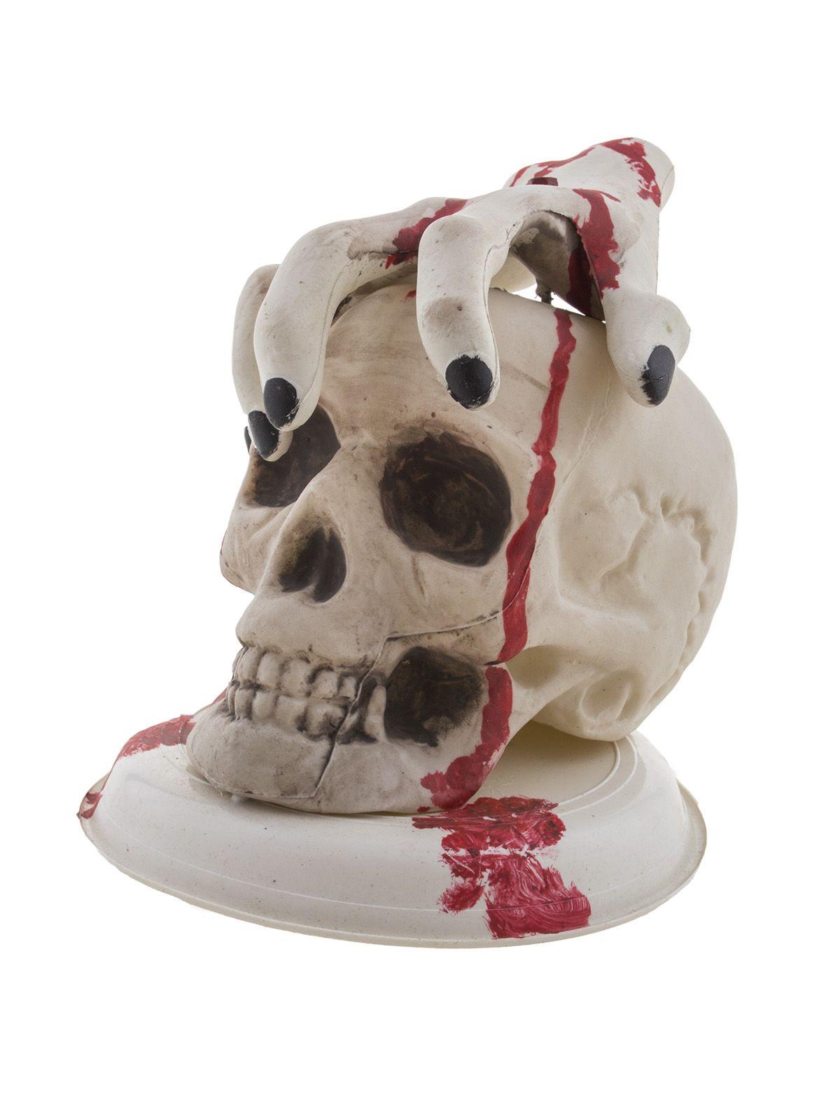 Totenkopf mit Hand und Blut