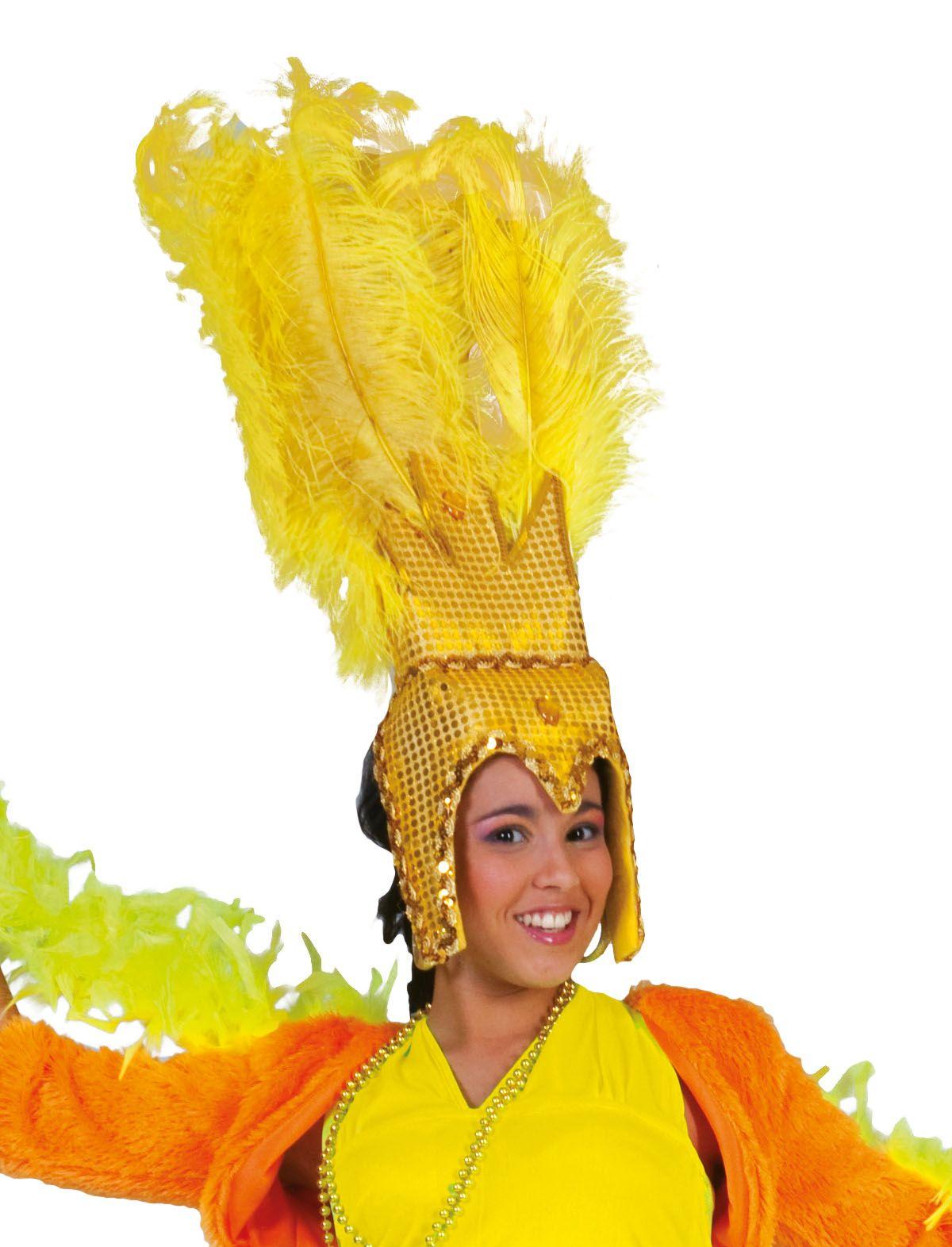 Brasilianischer Kopfschmuck mit Federn gelb