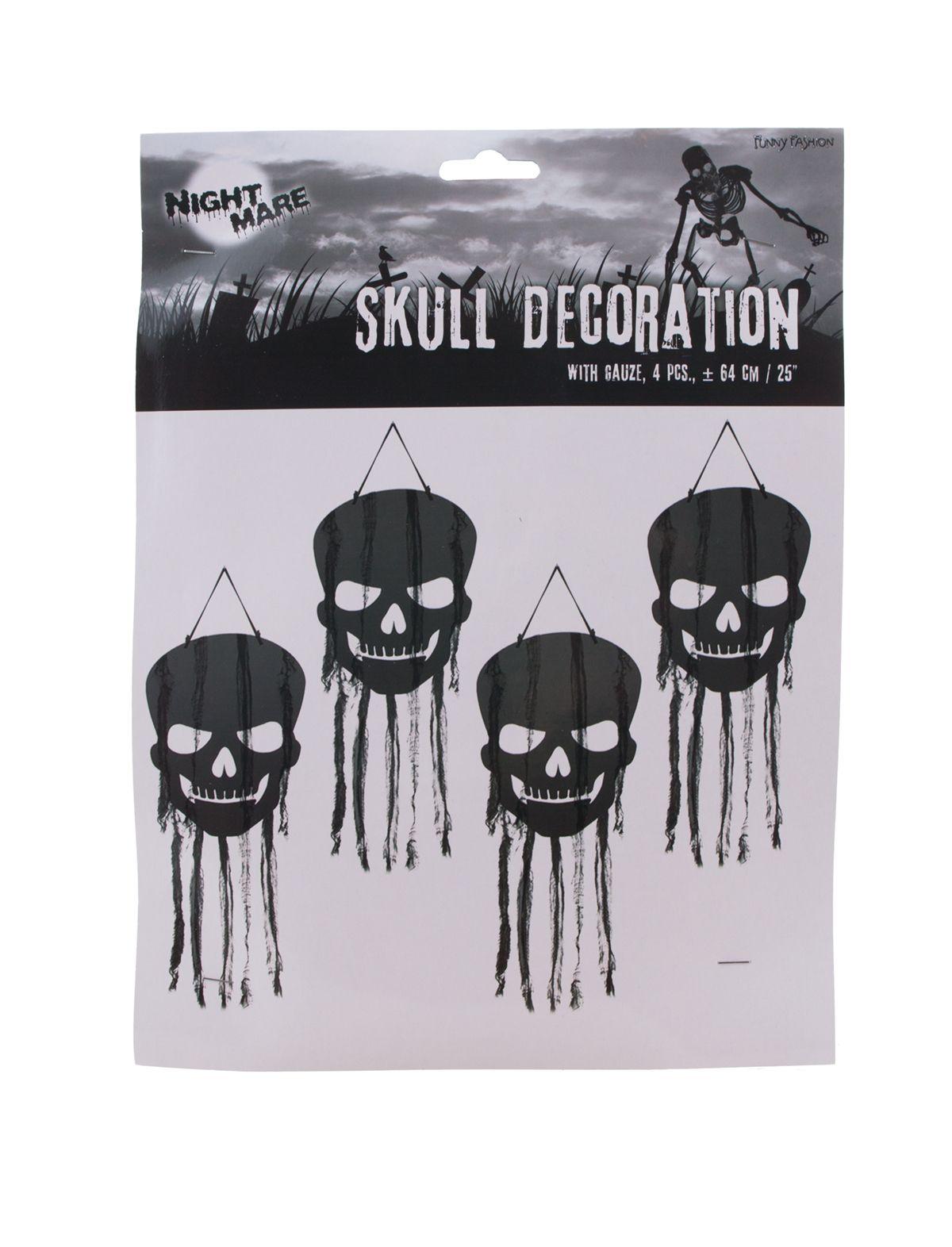 Hängedekoration Totenköpfe in schwarz 4-teilig