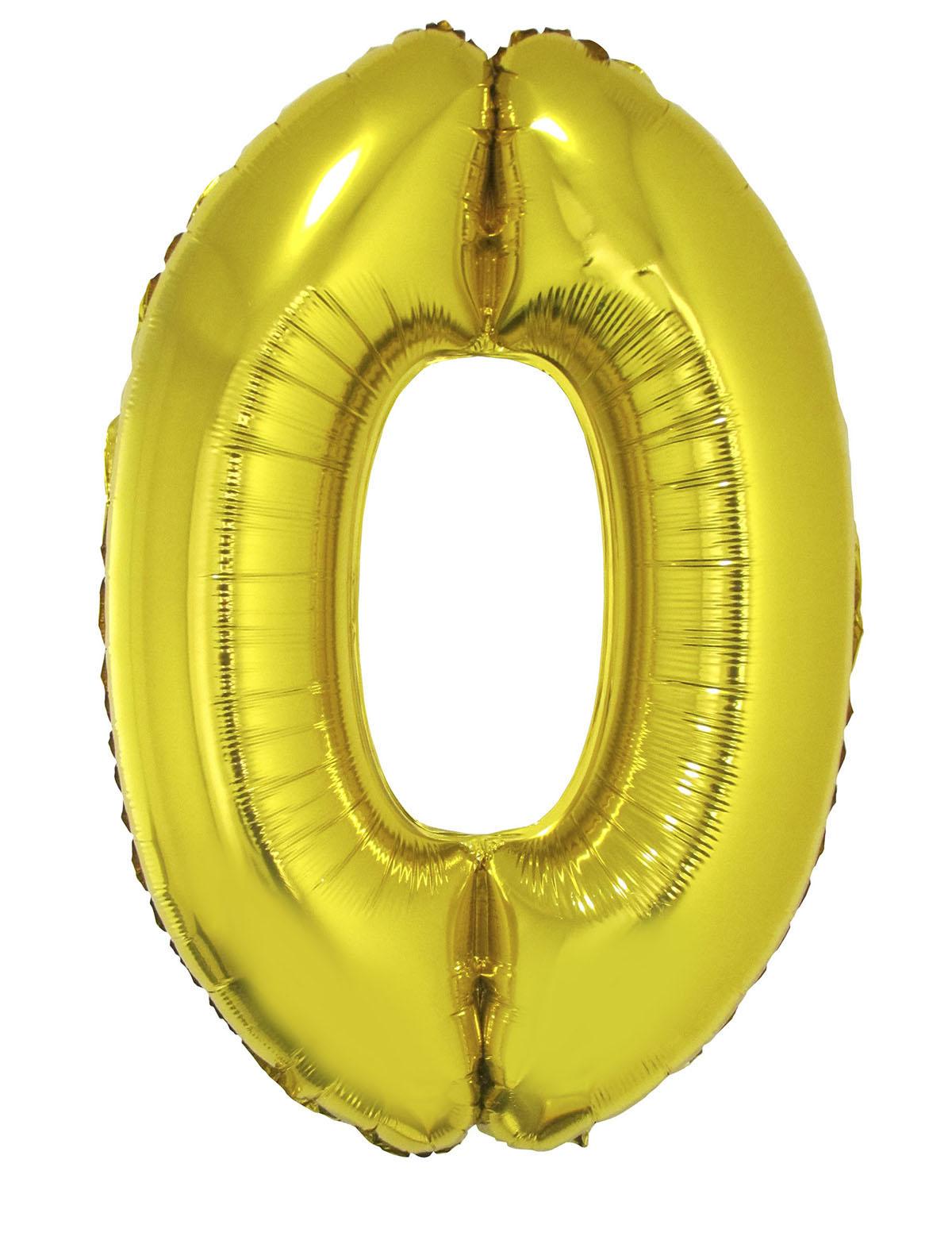 Folienballon 102 cm - Zahlen gold 0-9 Zahl 0