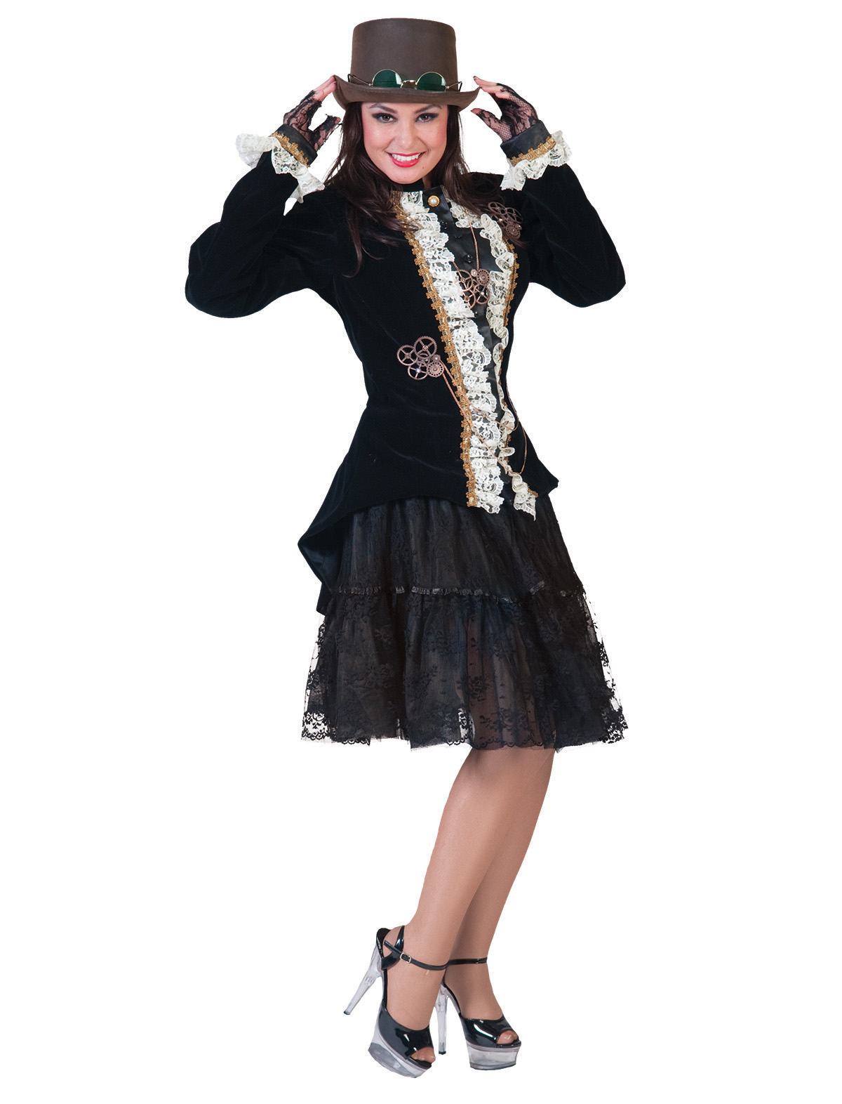 Jacke Steampunk Zoe schwarz/rot schwarz-weiß