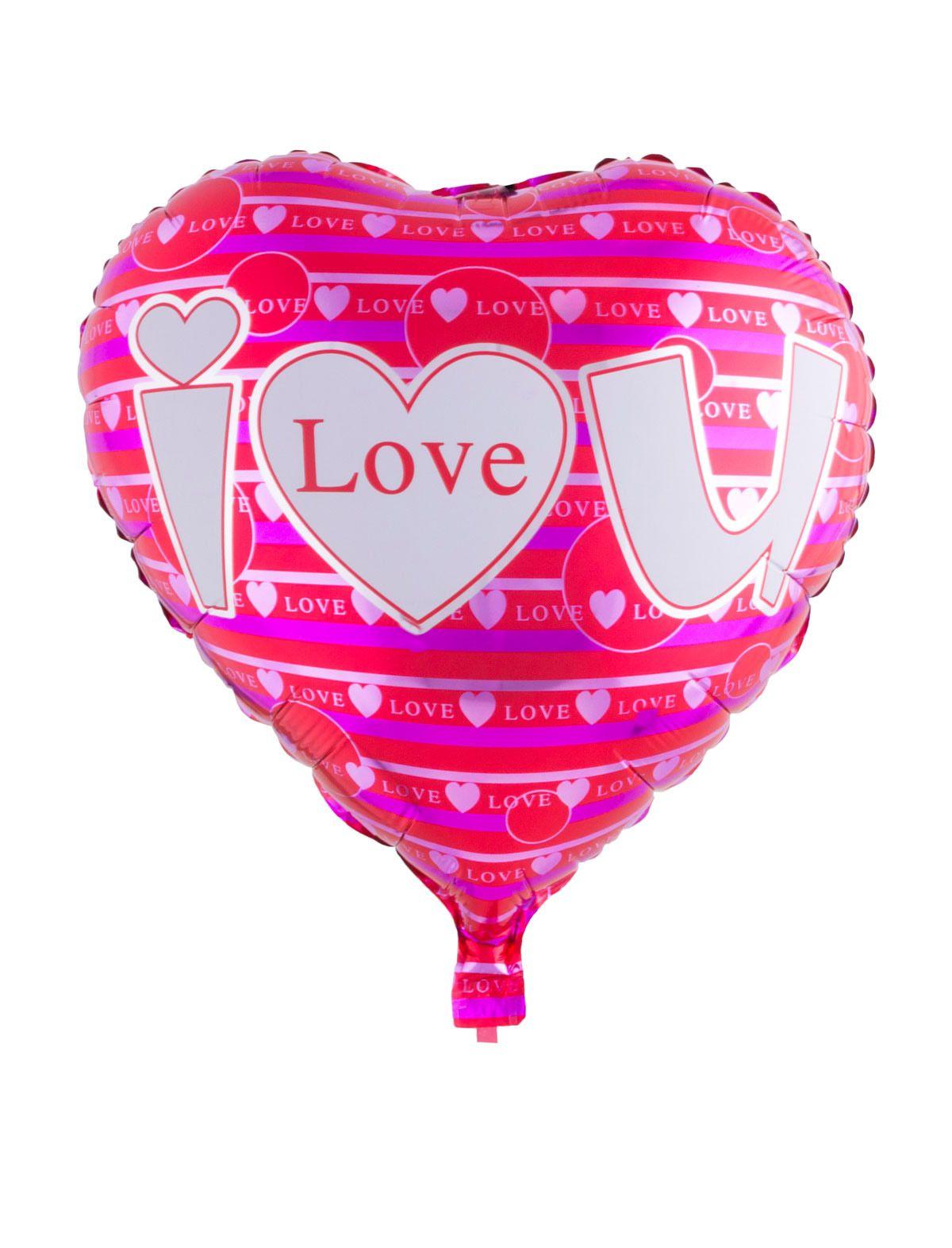 Folienballon Herz i love u - gestreift