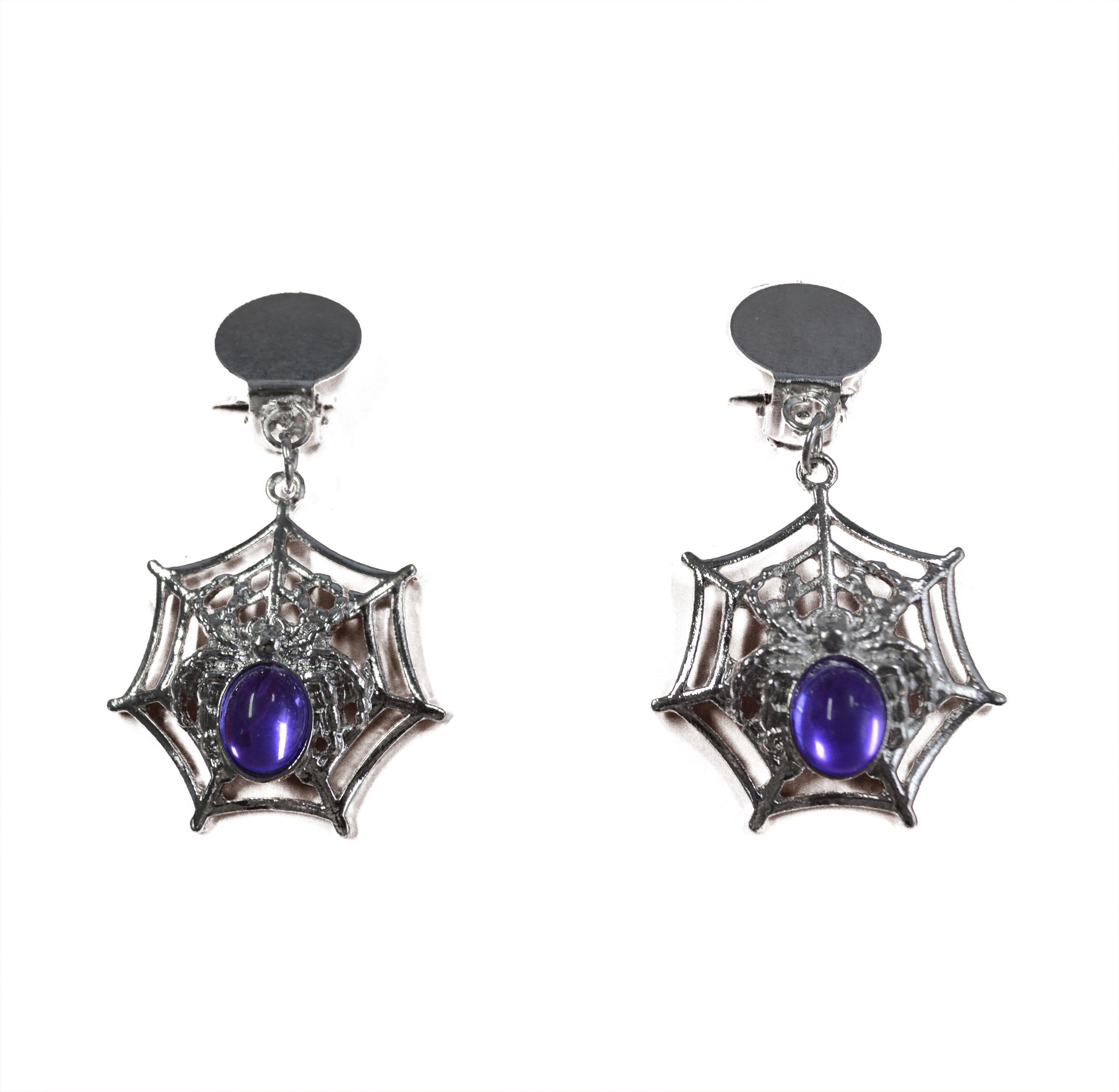 Ohrringe - Netz mit Spinne und lila Stein