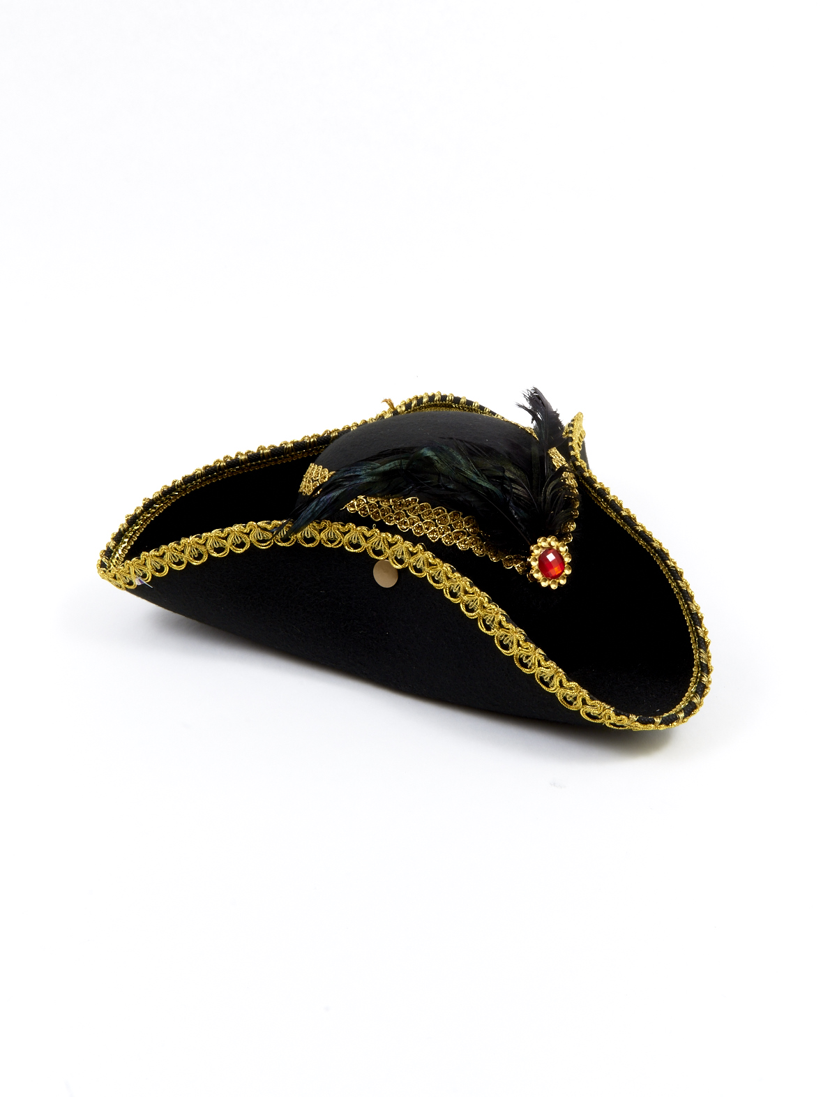 Damenhut Pirat mit Goldbrosche rot
