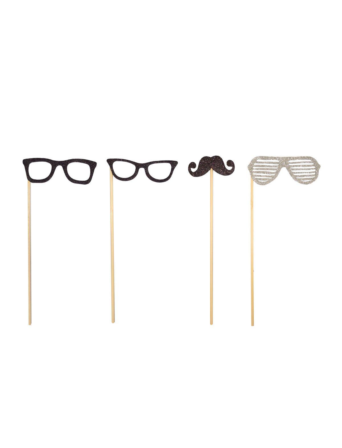 Brillen Schnurbart mit Stab 4Stück