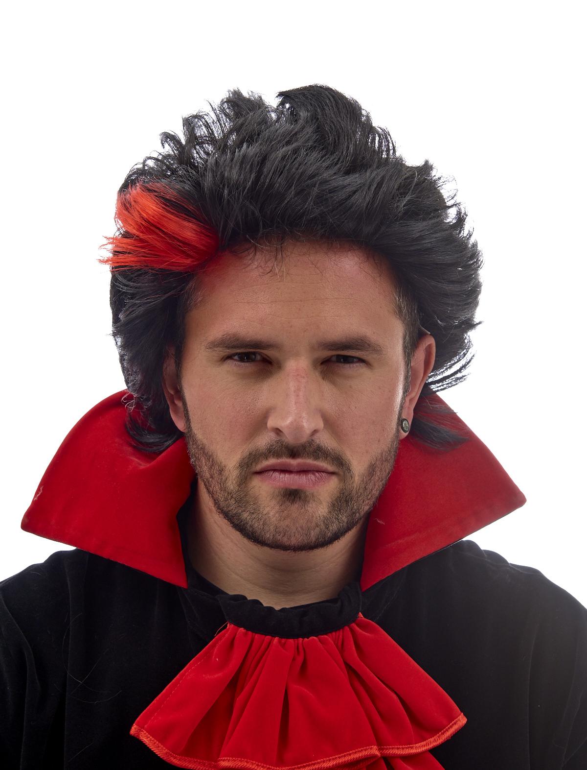 Perücke Dracula schwarz-rot