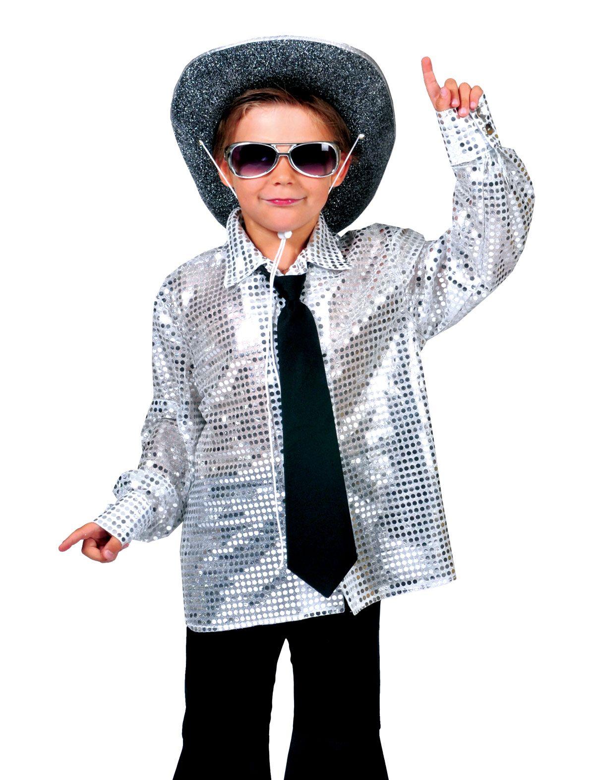 Hemd Disco silber Kind