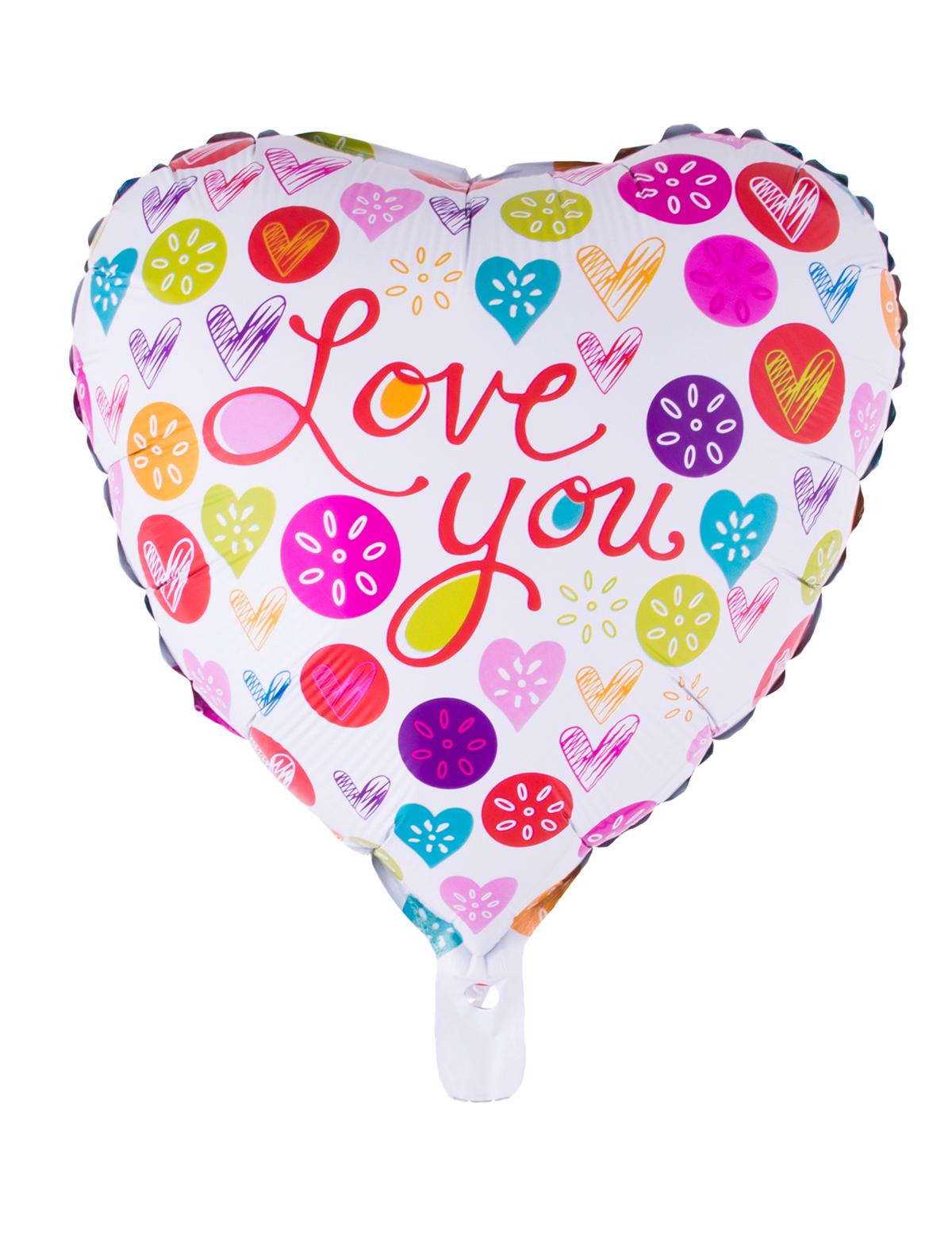 Folienballon Herz Love You bunt