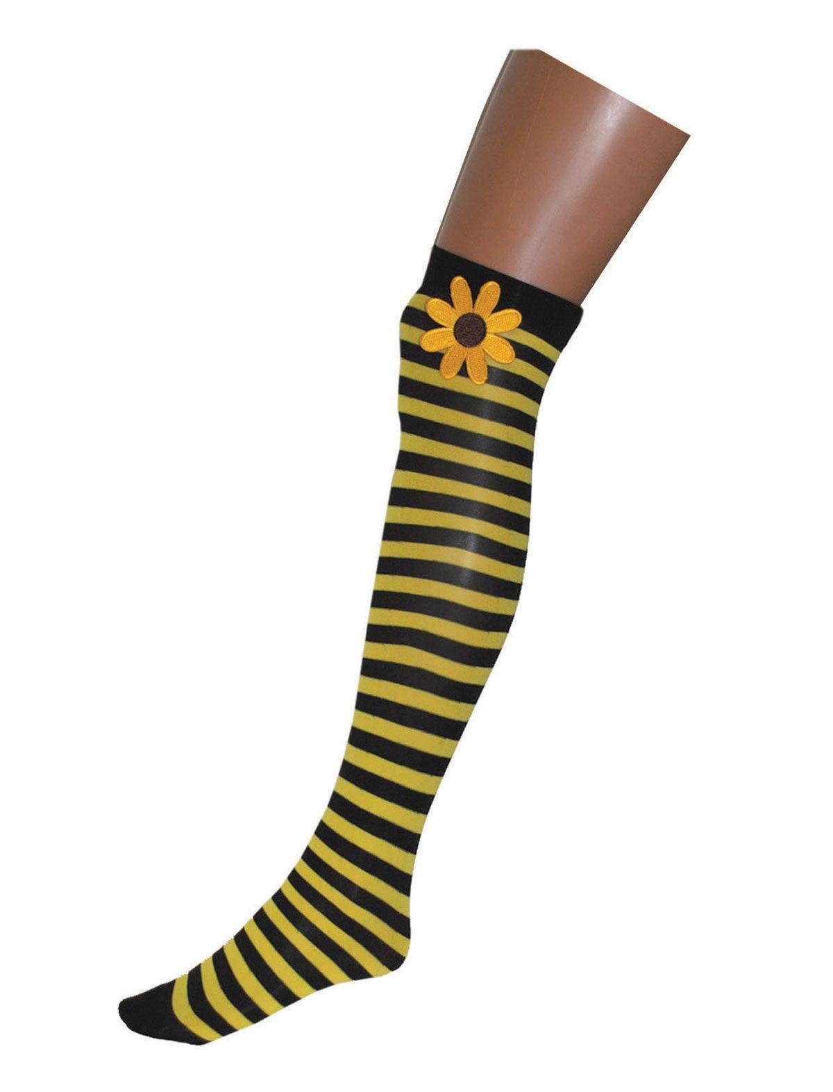 Overknee schwarz-gelb