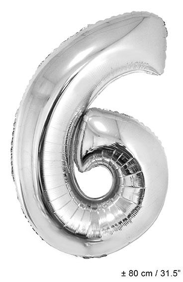 Folienballon 80 cm - Zahl 0-9 silber Zahl 6