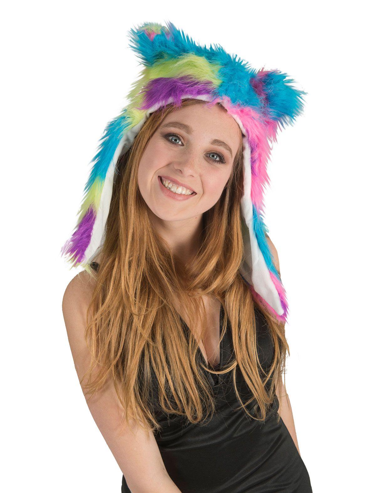 Plüsch-Mütze mit Ohren regenbogen