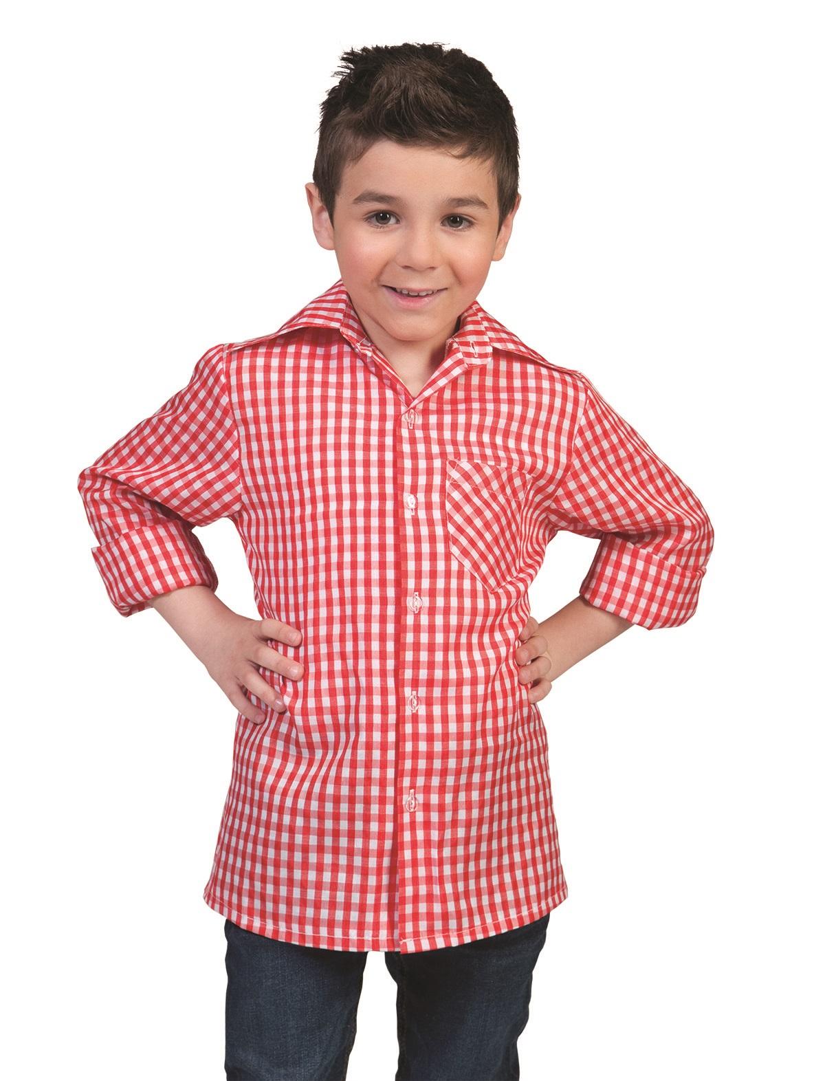 Tirolerhemd Kind rot-weiß
