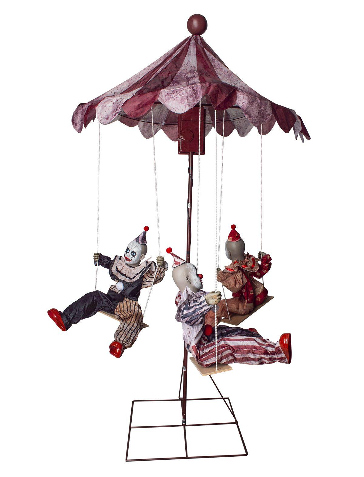 Grusel Karussell mit 3 Clowns & Licht Sound und Bewegung