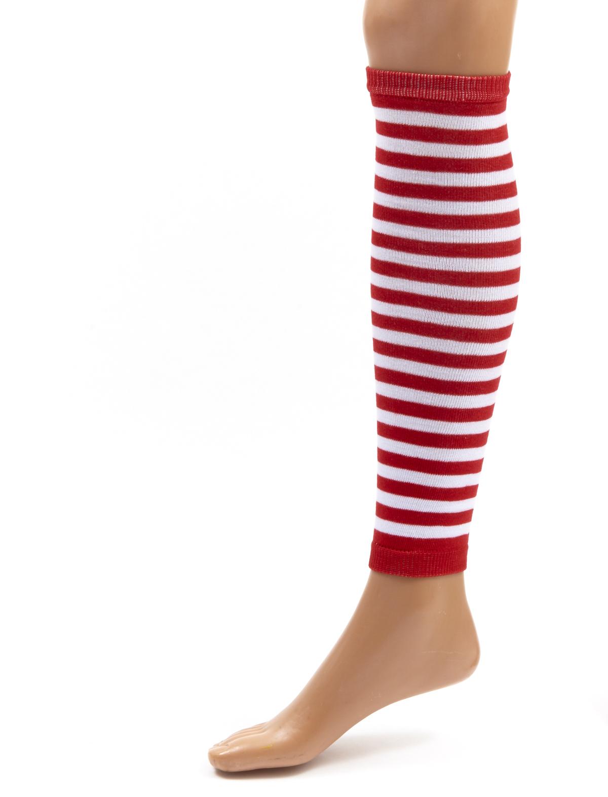 Beinwärmer geringelt, 50 cm rot-weiß