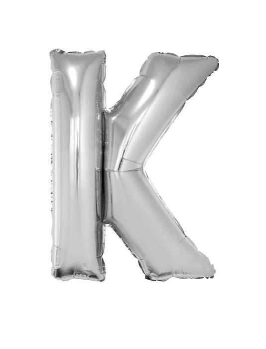 Folienballon 102 cm - Buchstaben silber A-Z Buchstabe K