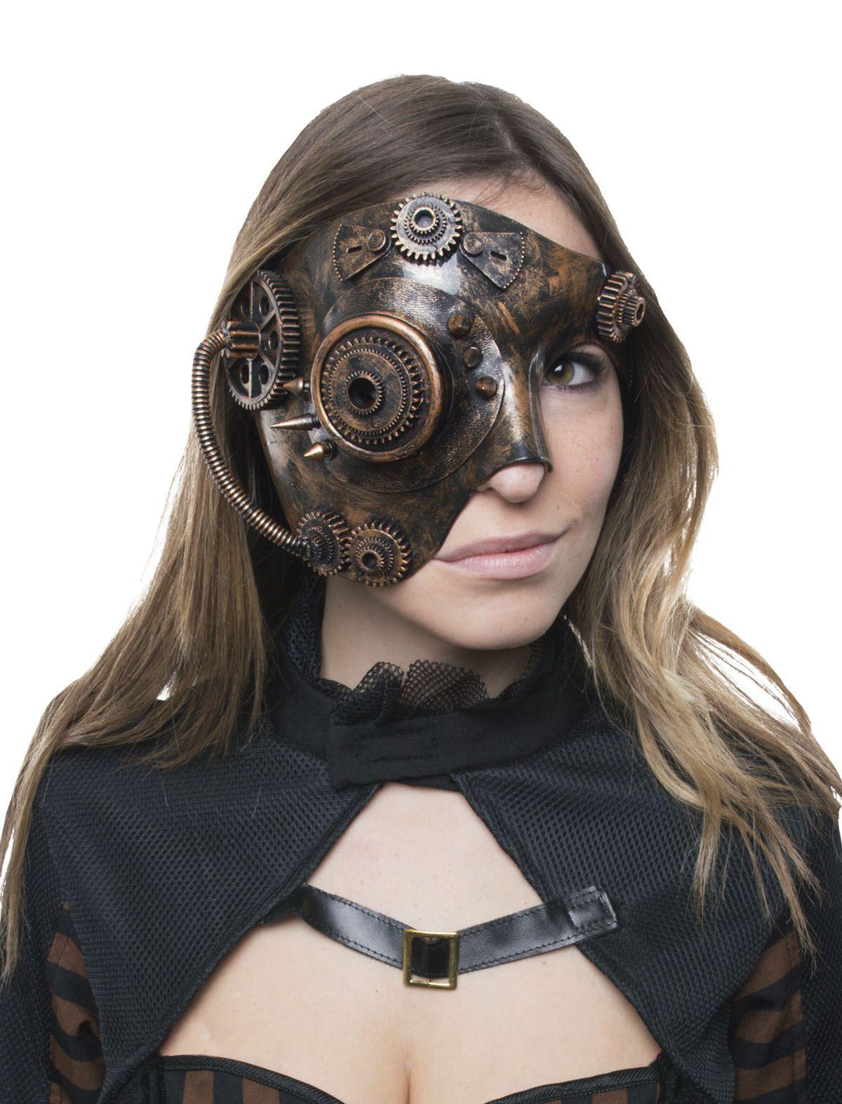 Steampunk Halbmaske altgold