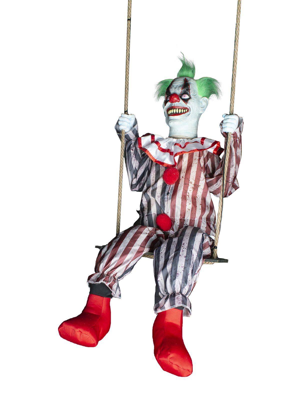 Grusel Clown auf Schaukel mit Licht, Sound und Bewegung