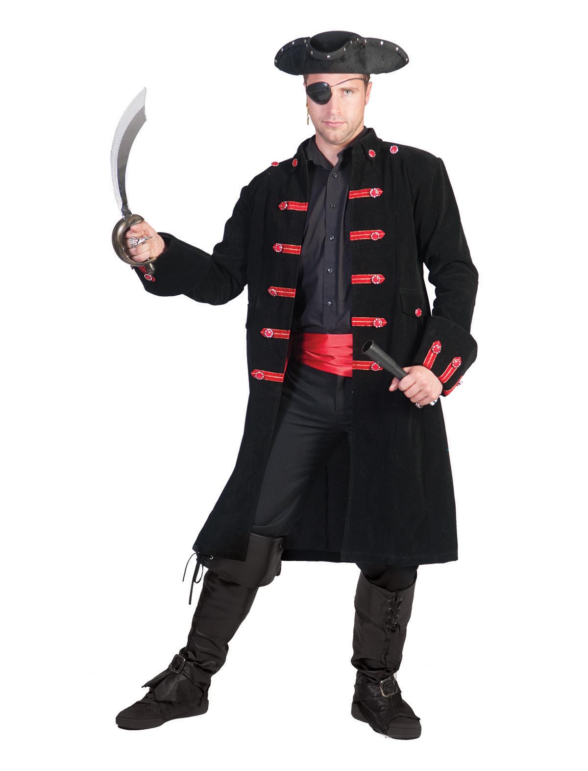 Karnevalkostüme  Jacke Pirat schwarz-rot