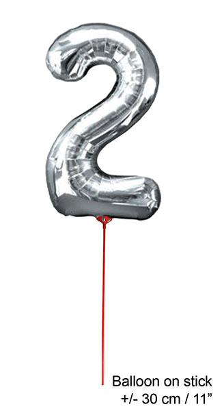 Folienballon 30 cm - Zahlen silber 2-9 Zahl 2