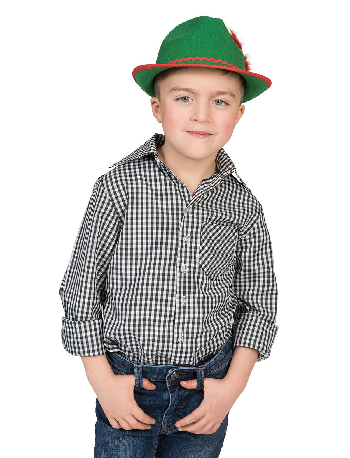 Tirolerhemd Kind schwarz/weiß