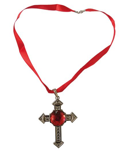 Halskette Kreuz mit roten Rubin