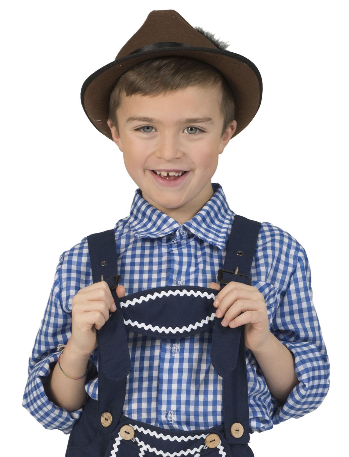 Tirolerhemd dunkelblau-weiß Kind