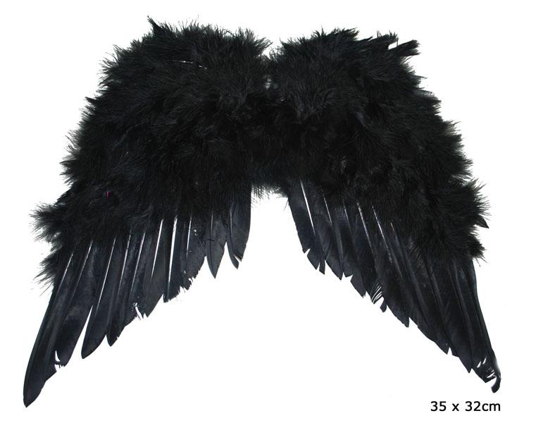 Federflügel schwarz 35 x 33 cm