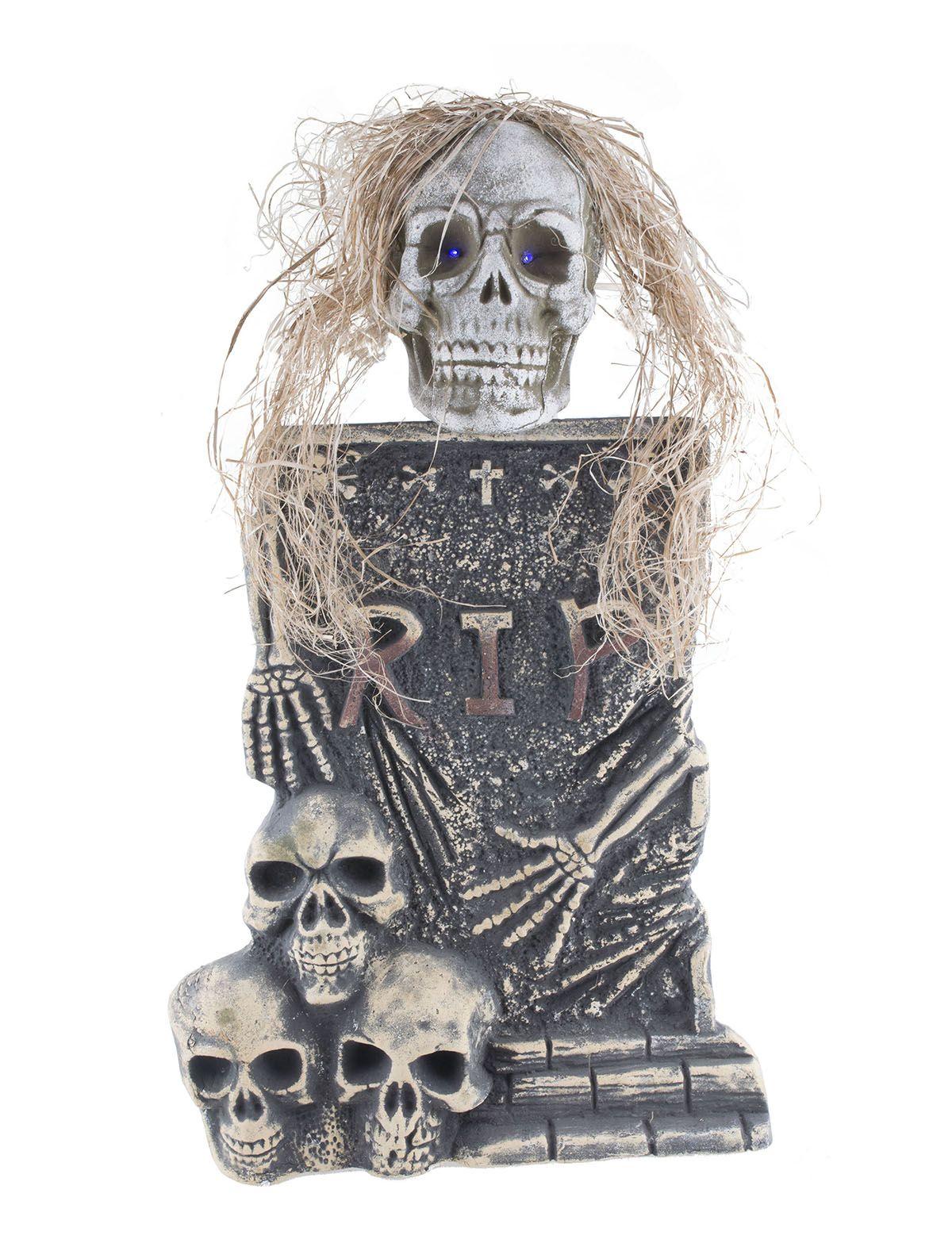 Grabstein mit Skelett und LED-Licht