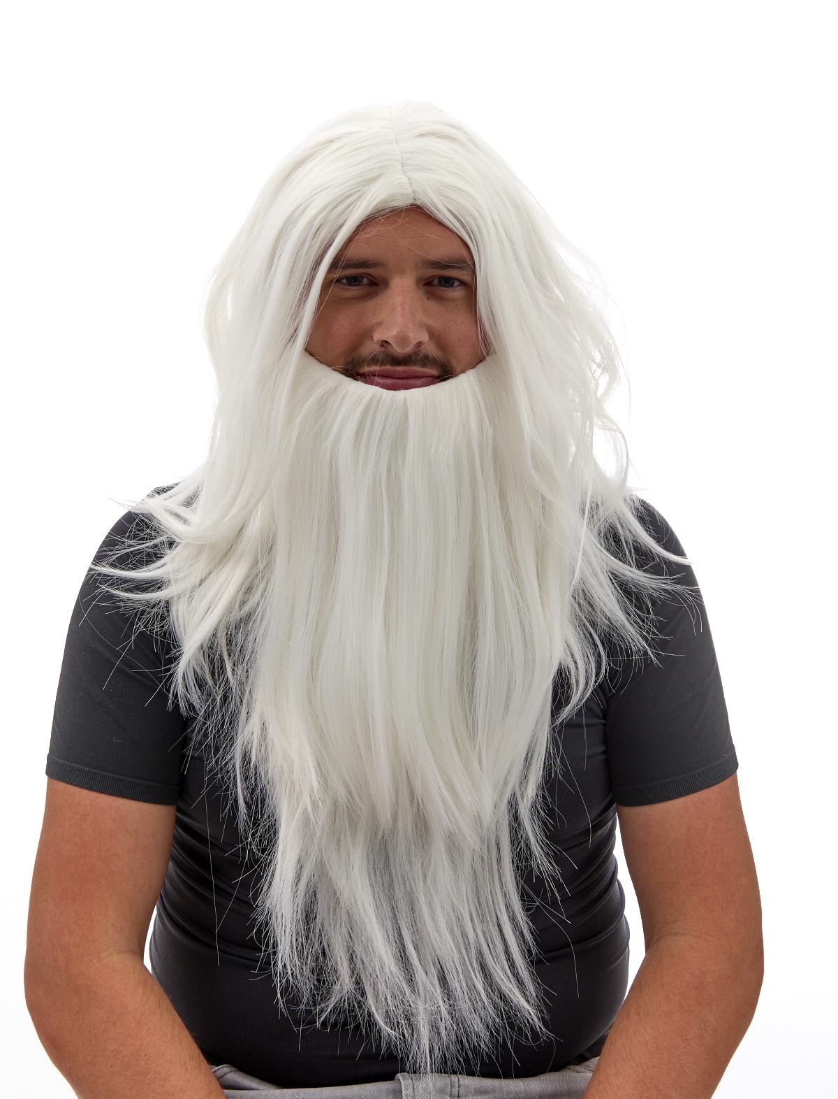 Perücke Magier mit Bart weiß