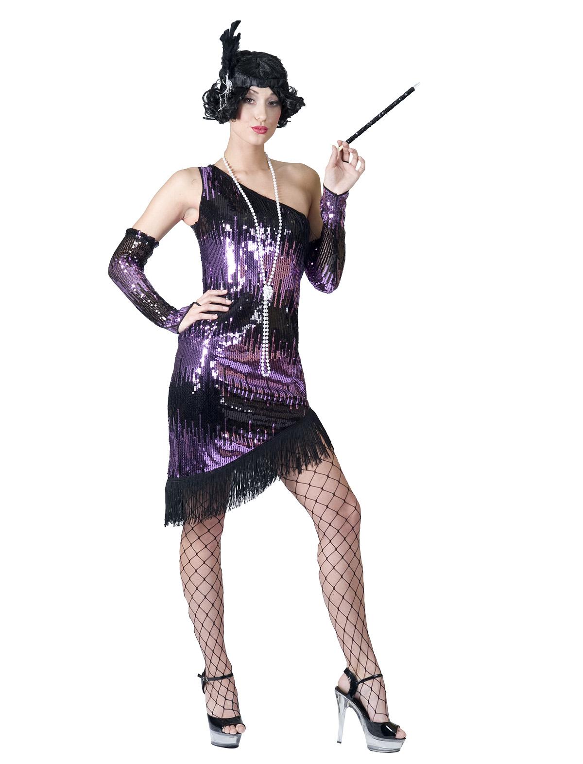 Kleid Charleston schwarz/lila