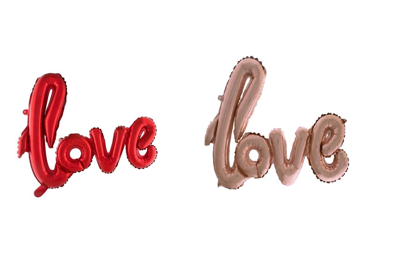 Folienballon Schriftzug love - 102 cm rosa