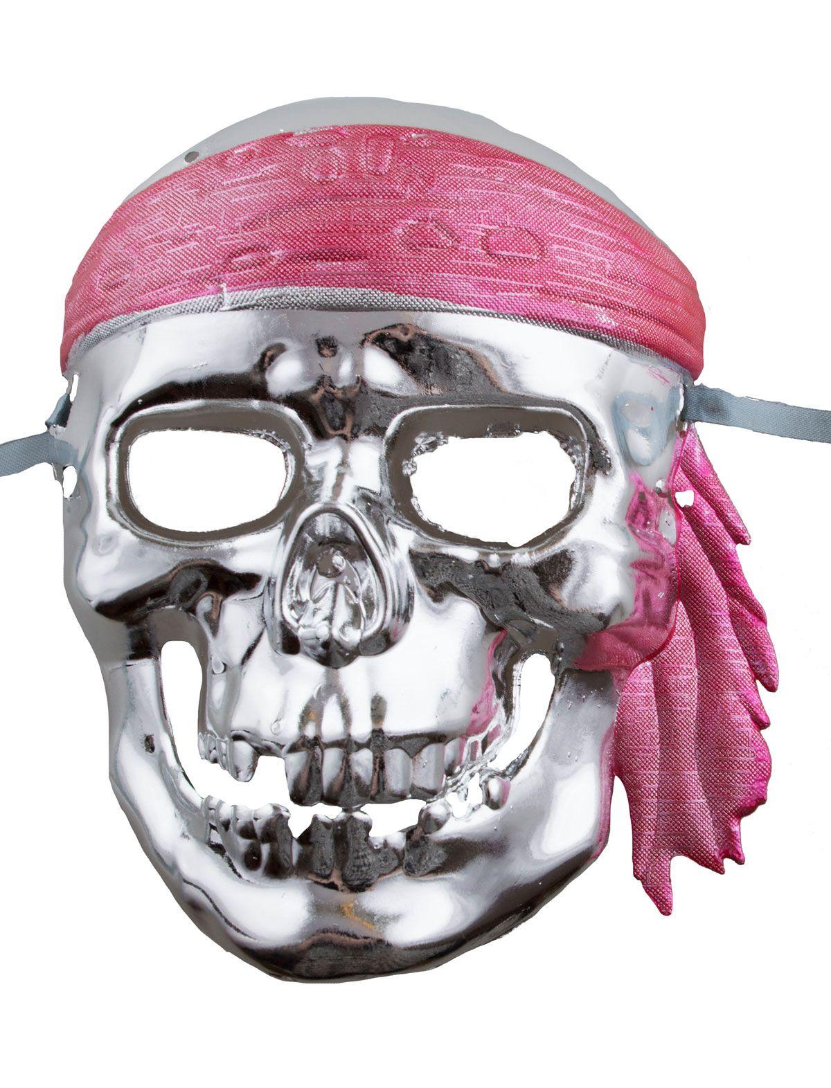 Schnürmaske Pirat silber
